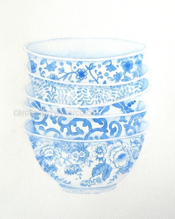 blue bowls watercolor print of watercolor painting by Carol Sapp