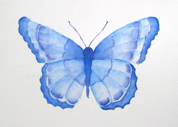 blue butterfly original watercolor painting