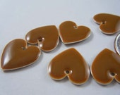 Brown Heart Charms 16x16mm - Set of 6