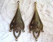 2 -Antiqued brass earring drop chandelier with three rings - RU134