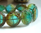 Czech turquoise and ocean colored chunky coin bead lot of (10) - HF295