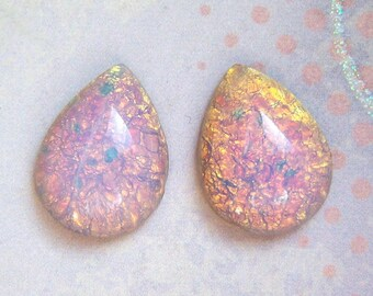 2 - Vintage harlequin 18x13mm fire opal pear cabochons - TU122