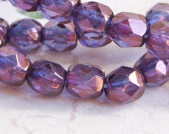Czech lilac luster 4mm fire polished bead lot of (50)  - TJ103