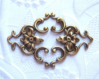 2 - Antiqued brass connector filigree stampings -  CT300