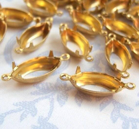 15x7 raw brass navette OB 2 ring rhinestone jewel setting lot of (6)   LA60