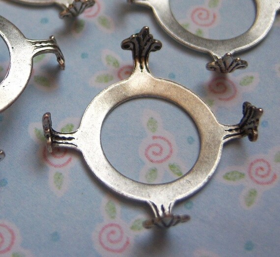 Antiqued sterling silver plated 16mm open back setting lot of (3) -TS201