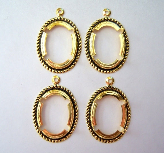 18x13mm Antique gold open back setting lot of  (4)-LK56