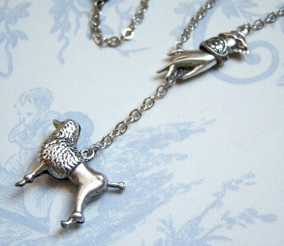 Antiqued  silver plated Walk your dog poodle necklace, statement necklace  - SX251