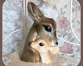 Vintage Collectible Planter, Deer, Ceramic, Vase, Retro, Mid Century, Royal Copley, Woodland Animal, Figurine, Mother Baby, Fawn, Home Decor