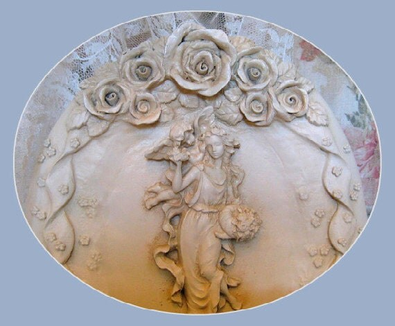 RESERVED LISTING for Anna thru 9.15.12 - Vintage Wall Pocket, Victorian Home Decor, Vase, Rose, Shabby Chic, Planter, Woman