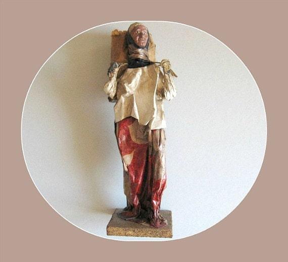 Vintage Woman Figure, Folk Art, Native, Hand Painted, Handmade, Vacation, Souvenir, Mexico, Paper Mache, Sculpture, Collectible, Figurine