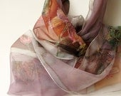 Fall color scarf. Hand painted on natural silk 18x72