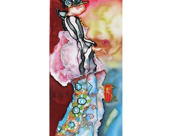 Hand painted miniature on silk Lady Player 8x4 inch