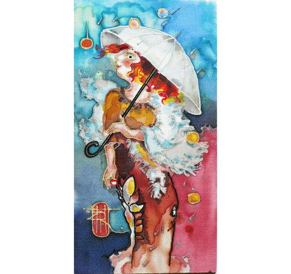 Silk hand painted as original painting - miniature from Home Spirit Series Lady Rainy