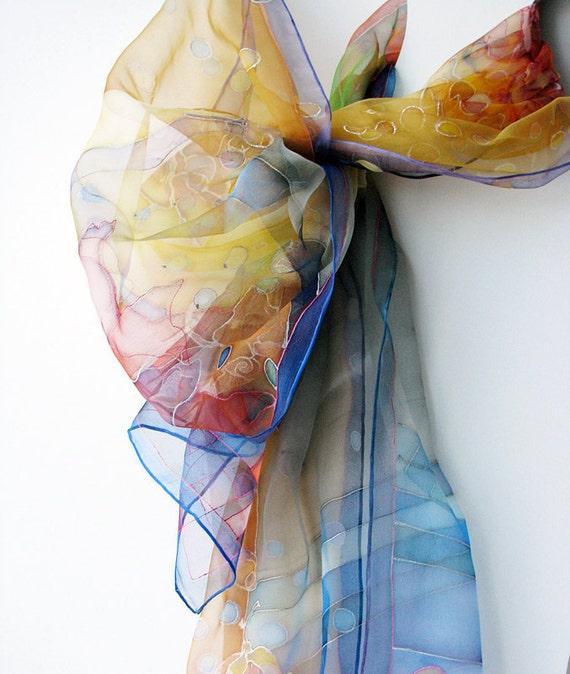 Evening gown - silk scarf hand painted on chiffon silk - Sunset - fall fashion