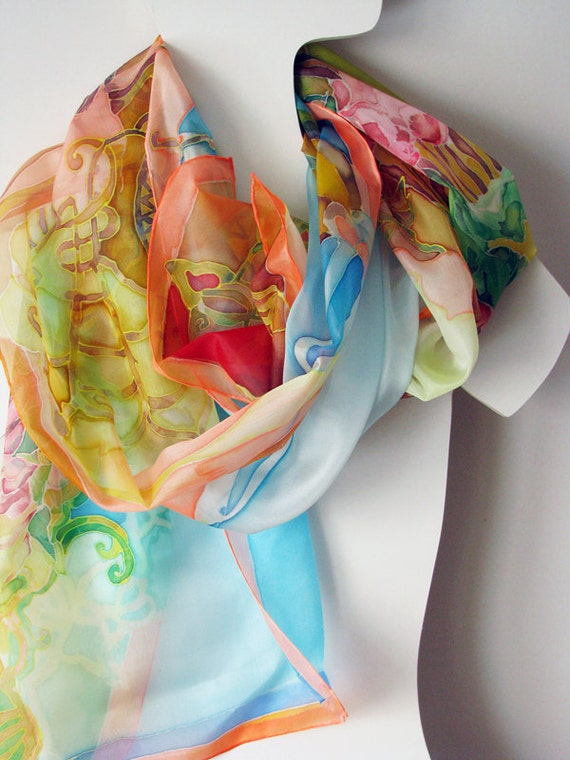 Hand painted silk scarf on ponge silk 180x45