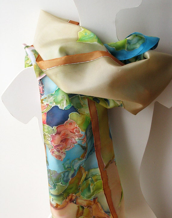 Hand painted silk scarf - dyed scarves. Floral motive.