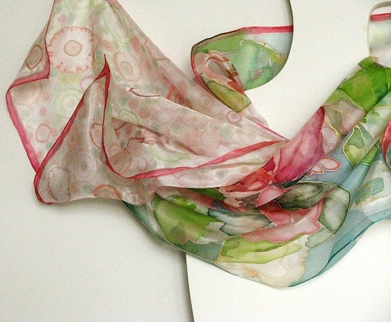 Hand dyed - hand painted silk scarf on ponge silk Lilies 180x45