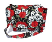 Tattoo Art Skulls and Roses Messenger / Tablet Bag  /  Laptop Bag / Book Bag