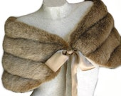 Fox Brown FAUX Mink FUR BRIDAL WRAP SHAWL Capelet