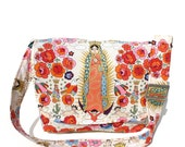Diaper bag / Purse Messenger Bag Mexican Guadalupe, Virgin Mary  Art Large Messenger Purse / Diaper Bag / Laptop Bag