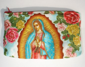 Mexican Virgin Mary Guadalupe wallet coin purse rockabilly- w\/zipper Big enough 4 Make-up