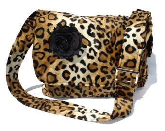 Rockabilly Bag / Purse Leopard faux w/ Flower Large Diaper Bag/  Messenger bag