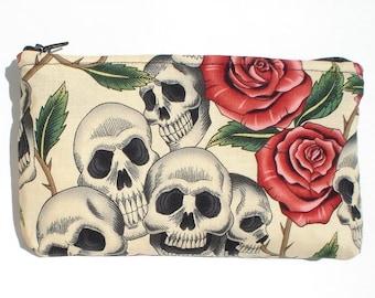 Day of the Dead / Dia de los Muertos Skulls and Roses Wallet/ Makeup Bag / Coin purse