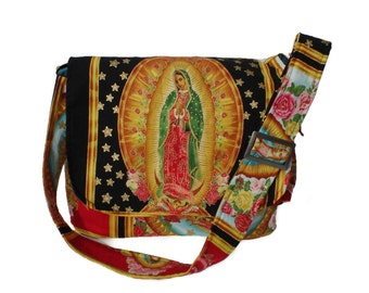 Guadalupe Virgin Mary Mexican Art Messenger Bag / Diaper bag