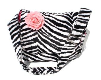 Zebra Print Faux Fur Messenger Bag