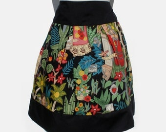 Frida  Mexican Inspired Flowers and Animals Skirt Black