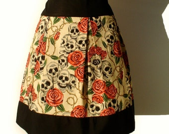 Day Of the Dead  Skulls and Roses Tattoo Skirt ON Sale/ Ready to Ship