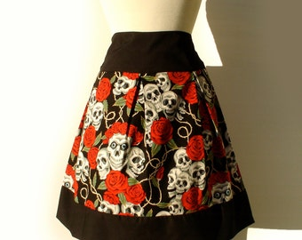 PINUP Tattoo Art Skulls and Roses Pleated Skirt