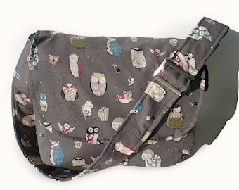 Owl Messenger  Bag / Purse/ Gray Owl Bag / Hipster Owl Messenger Purse