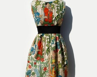 Frida  Inspired  Dress/  50s Inspired Frida Dress / Mexican / Rockabilly / Boho