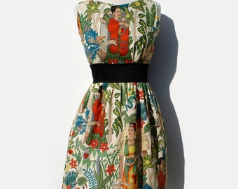 """Vintage Inspired """"Head Over Wheels"""" Frida Kahlo Dress in Beige"""