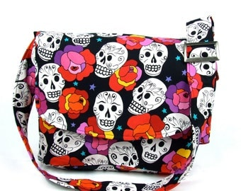 Flowers and Skulls Diaper bag/ Laptop Bag / Messenger Purse