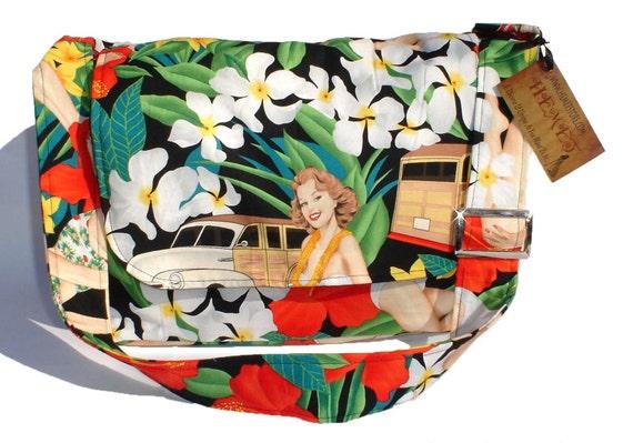 Hawaiian Flowers and Pinups  Purse /  Rockabilly Pinup Purse / Diaper Bag