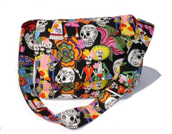 Catrinas and Catrinos Skulls Messenger Crossbody Bag / Gift