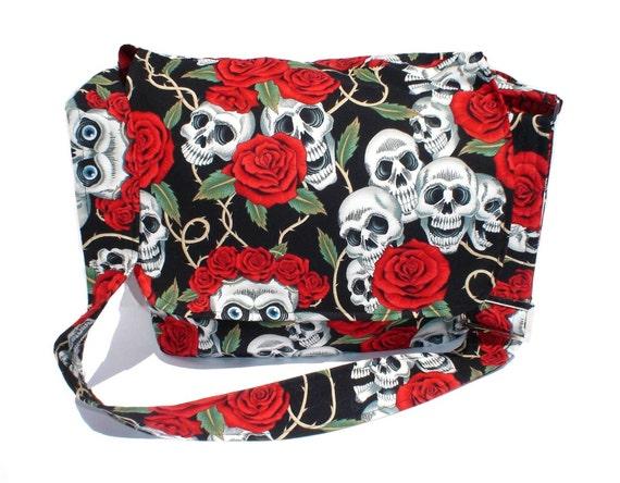 Tattoo Art Skulls and Roses Messenger / Tablet Bag  /  Laptop Bag / Book Bag