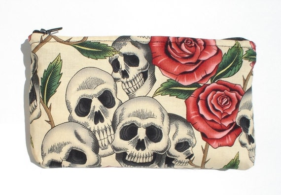 Day of the Dead / Dia de los Muertos Skulls and Roses Wallet/ Makeup Bag / Coin purse