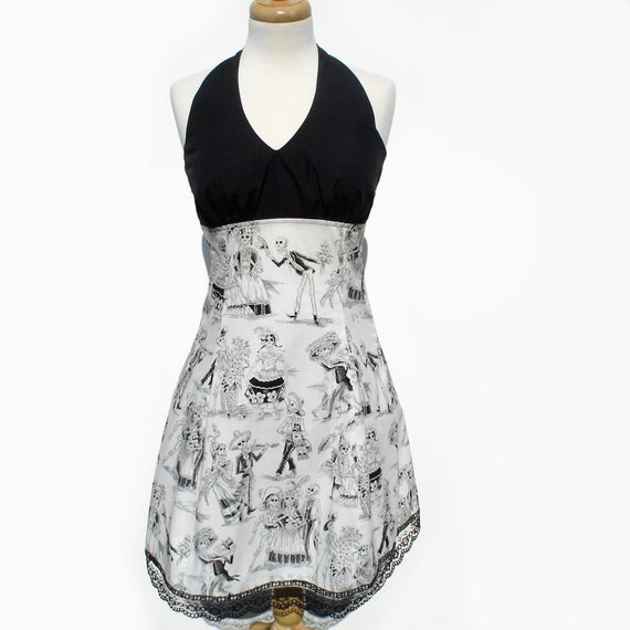 Black and White Day of the Dead Dress/  Mexican Skull Dress