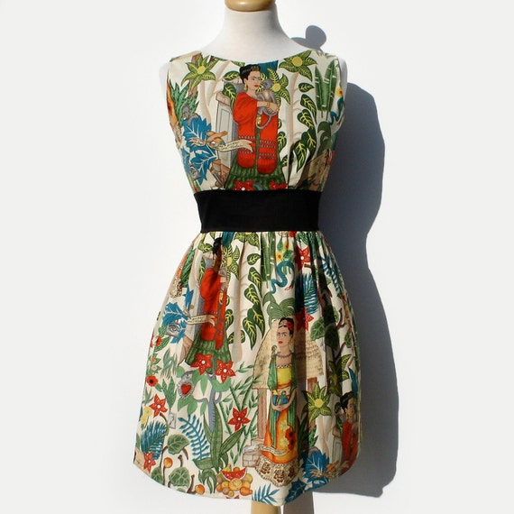 Frida Kahlo Print Dress from Vintage Galeria