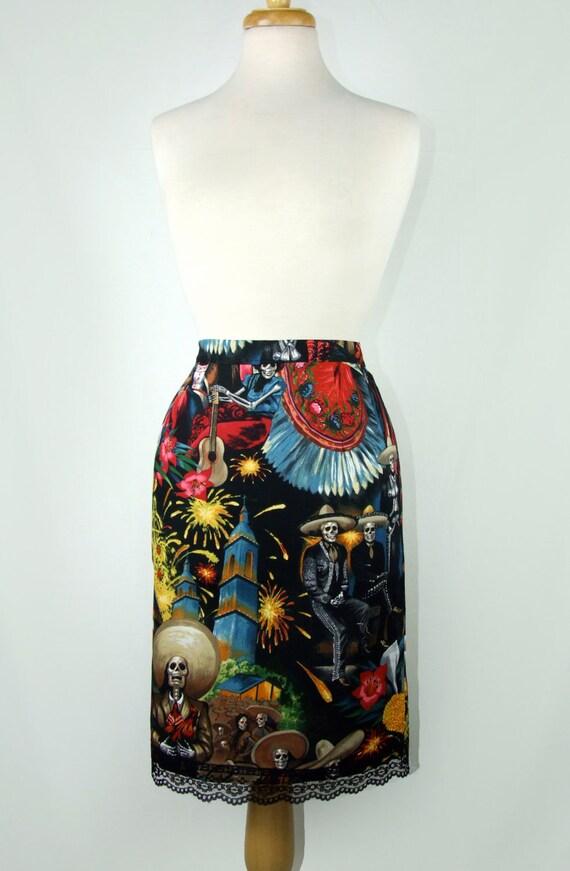 Day of the Dead Pencil Skirt  /  Mexican Fiesta De San Marcos Skull Pencil Skirt