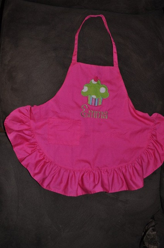 Monogrammed Personalized Embroidered CupCake Child Kid Apron