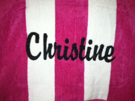 Monogrammed Personalized Embroidered Adult Cabana Striped Beach Towel