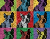Boston Terrier Vintage-Style Pop-Art T-Shirt Tee - Men's, Women's Ladies, Short, Long Sleeve, Youth Kids