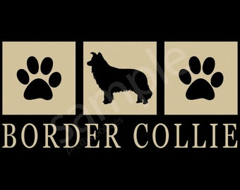 Border Collie Silhouette T-Shirt Tee - Men's, Ladies Women's, Short, Long Sleeve, Kids Youth