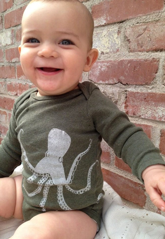 Hand Screen Printed Octopus Long-Sleeve Onesie