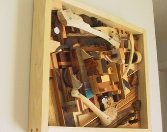 wood sculpture.  mixed collage shadowbox.  urban topography sprawl.